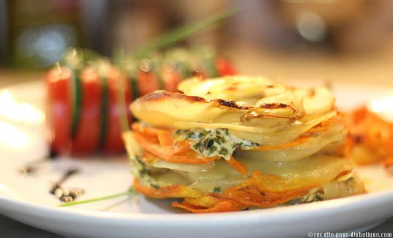 Mille feuille pommes de terre et carottes aux herbes - Feuille pomme de terre ...