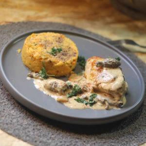 Poulet aux morilles et pur e de patates douces courgettes - Recette poulet patate douce ...