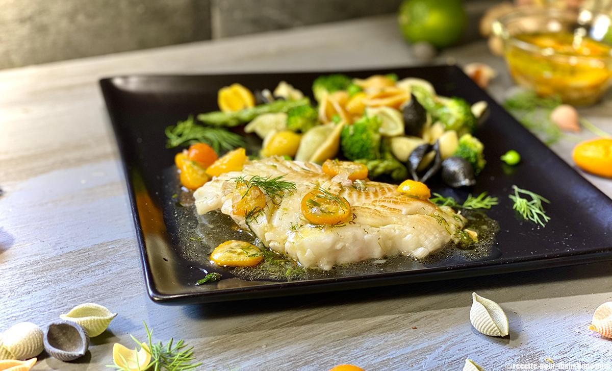 Flétan sauce Kumquat et salade de Conchiglie