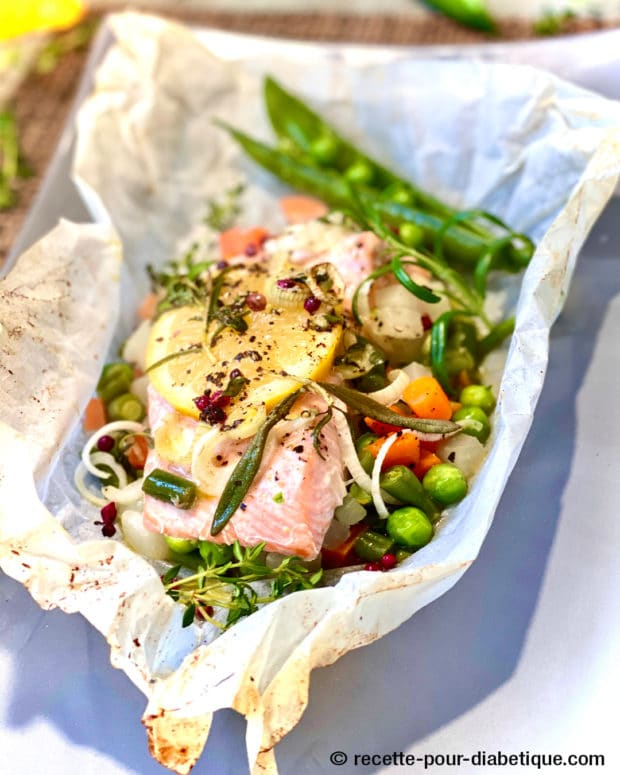 papillote saumon thym romarin légumes